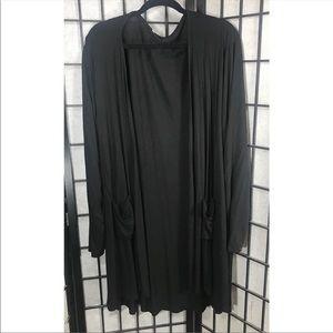Sweaters - • Long Plus Size Black Cardigan 2 Pockets Size 5 X